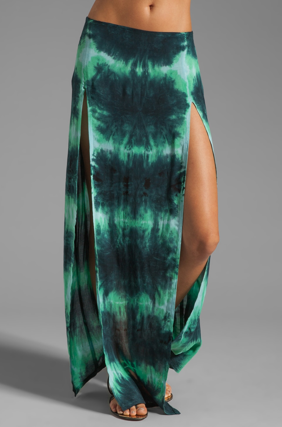 Blu Moon Two Slit Skirt in Aqua Tie Dye