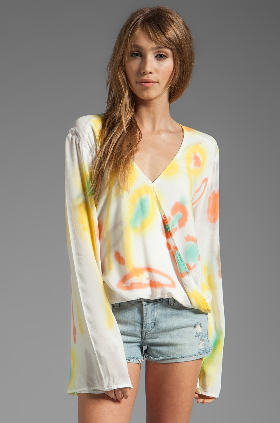 Blu Moon Hayley Long Sleeve Top in Jungle Tie Dye