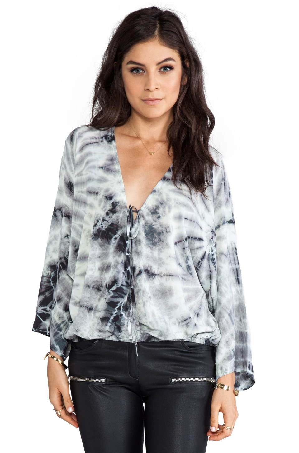 Blu Moon Kimono Criss Cross Top in Stone