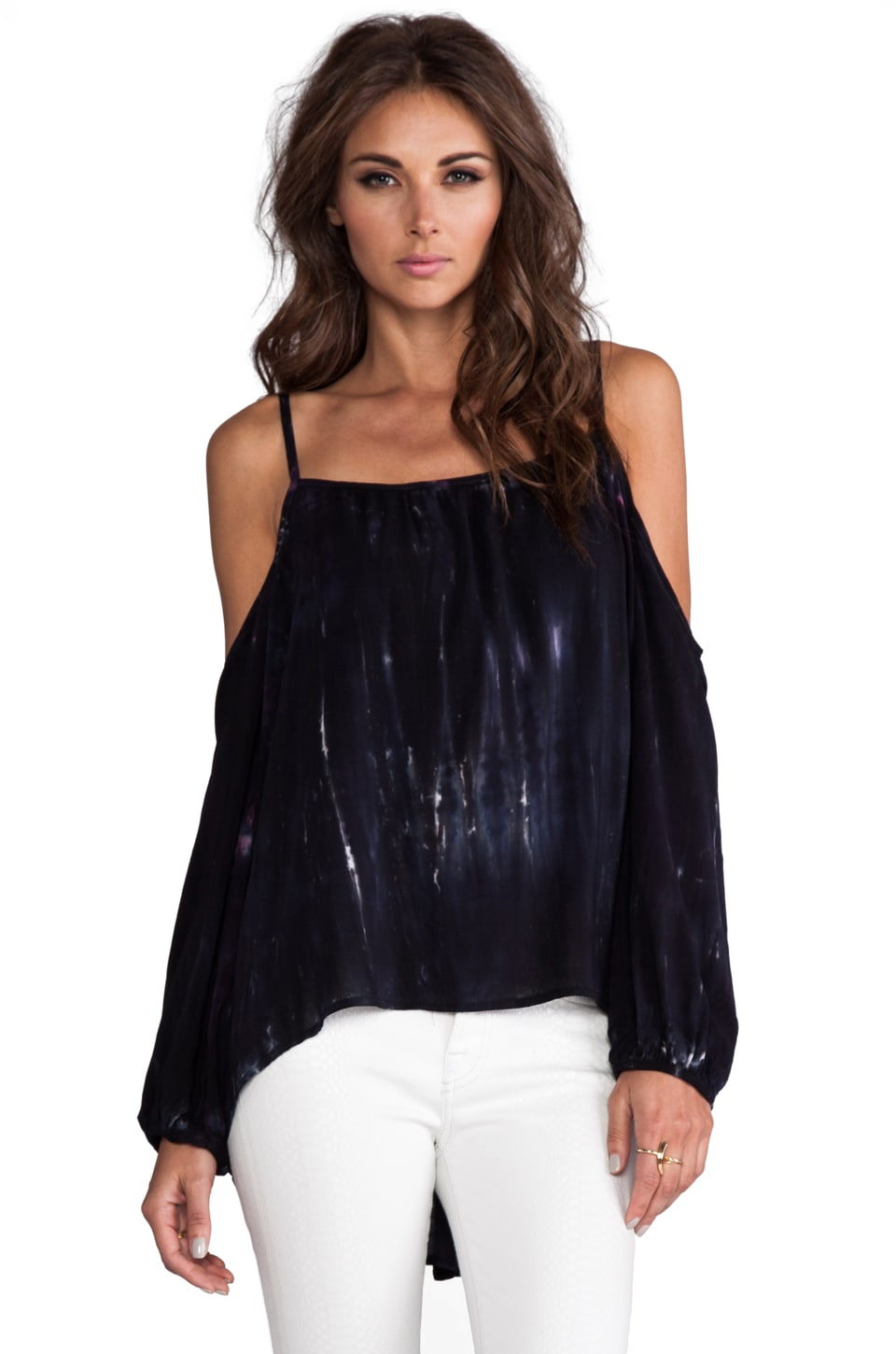 Blu Moon Long Sleeve Peek-a-Boo Shoulder Top in Galaxy
