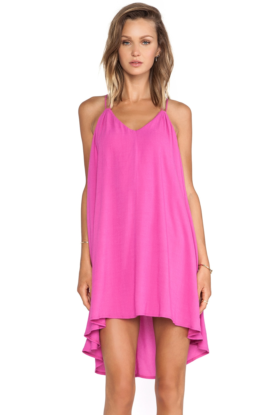 Bella Luxx Crepe Trapeze Dress in Flamingo