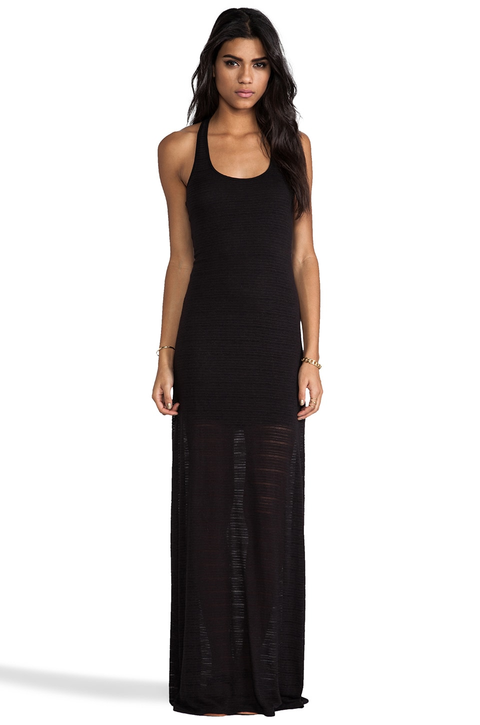 Bella Luxx Stripe Racerback Maxi Dress in Black