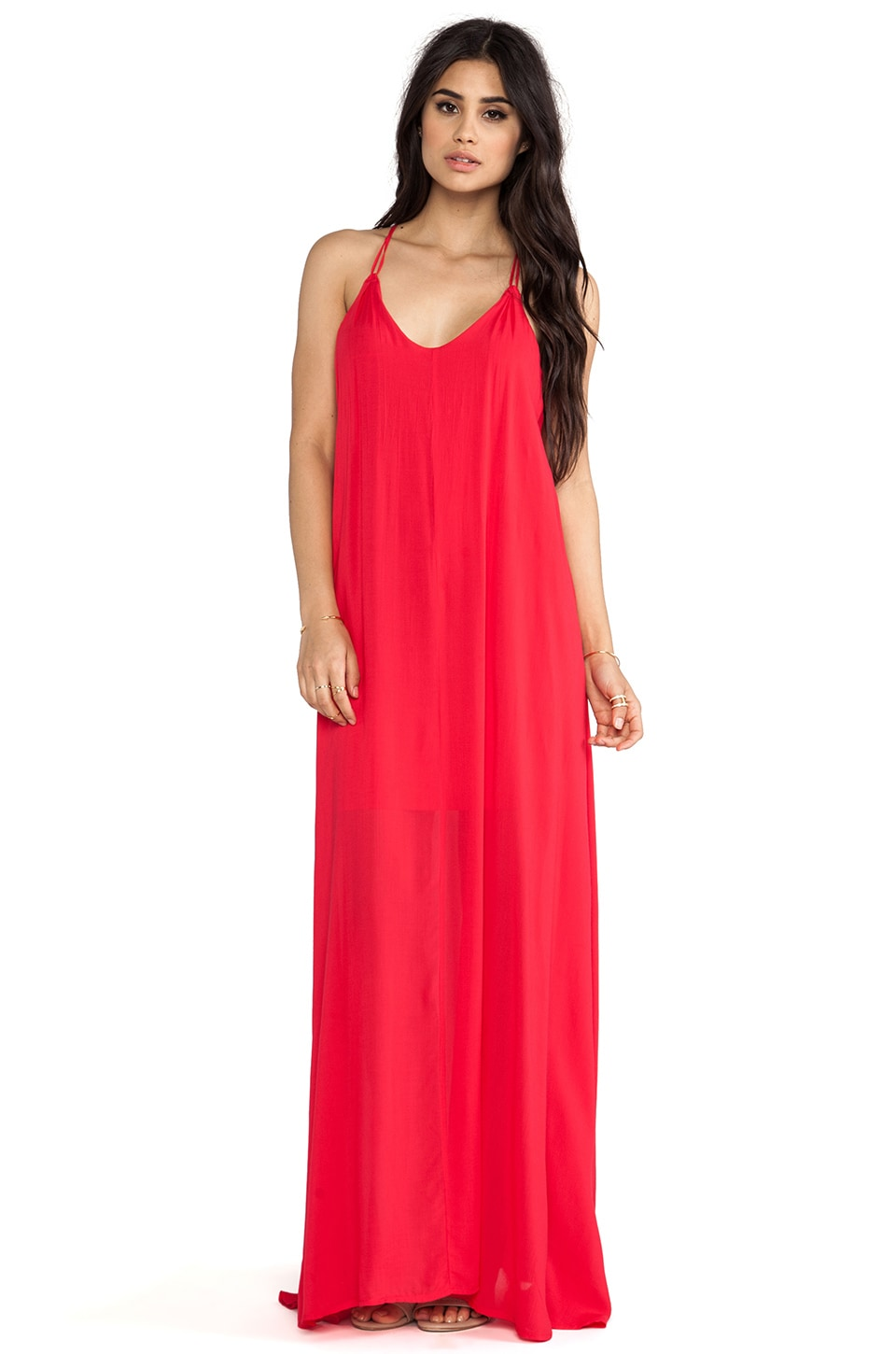 Bella Luxx Trapeze Maxi Dress in Rouge