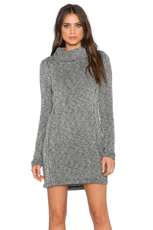 Bella Luxx Funnel Neck Sweater Dress in Black & White