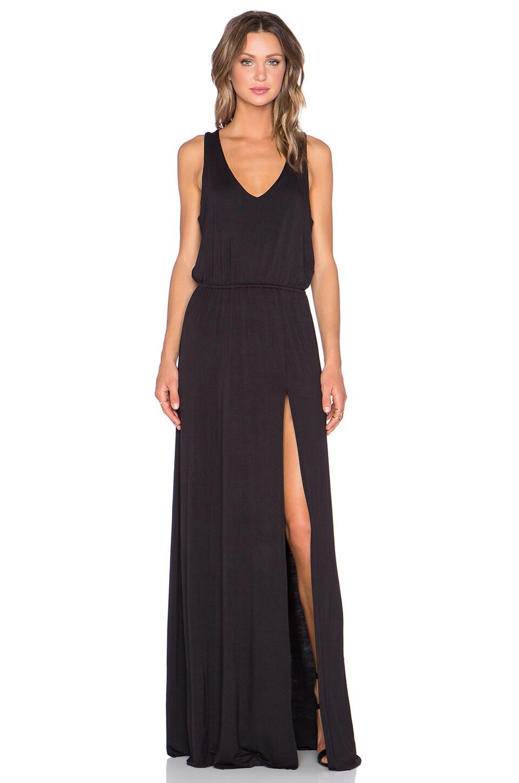 Bella Luxx Open Back Maxi Dress in Black