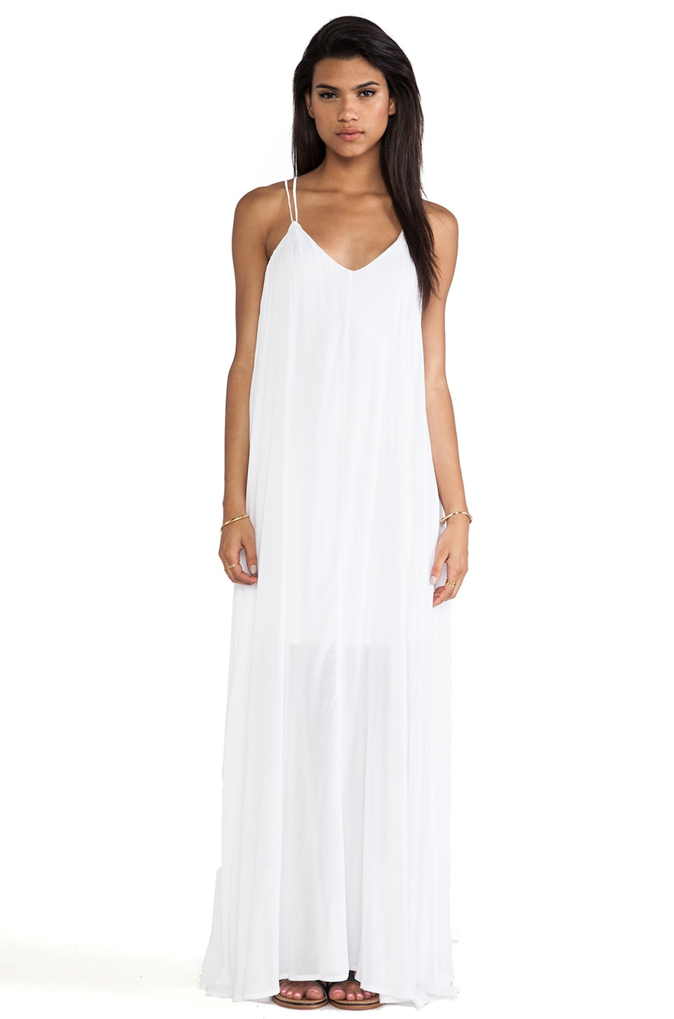 Bella Luxx Trapeze Maxi Dress in White