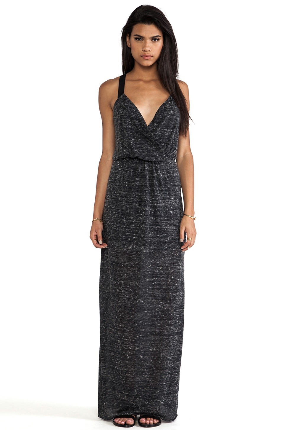 Bella Luxx Marbled Cross Front Maxi Dress in Black Marble