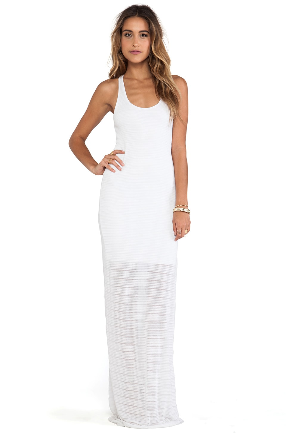 Bella Luxx Slub Stripe Maxi Dress in White