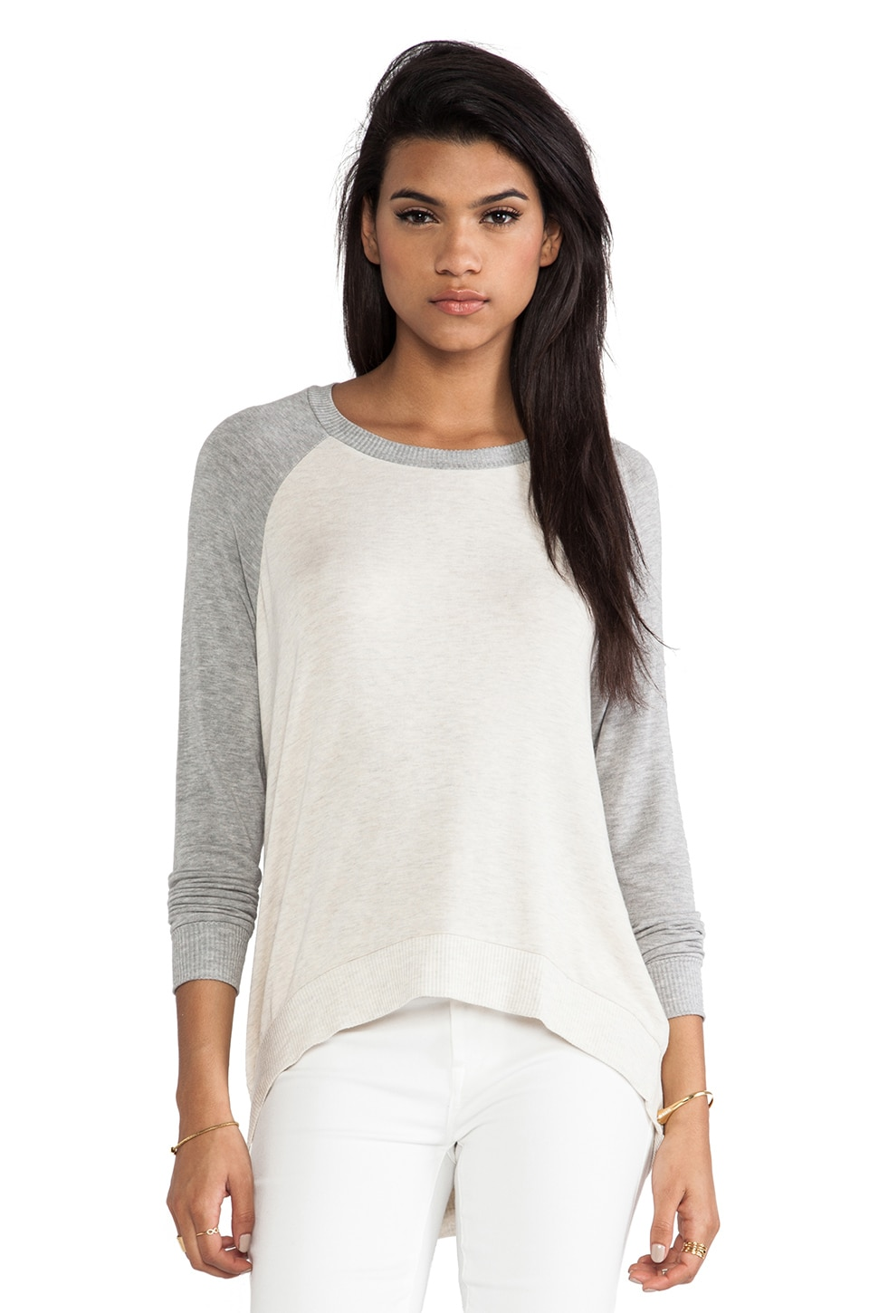 Bella Luxx High-Low Pullover Sweater in Cream Heather & Heather Grey