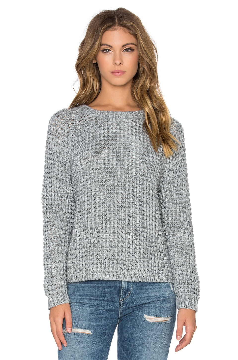 Bella Luxx Waffle Shrunken Sweater in Medium Grey