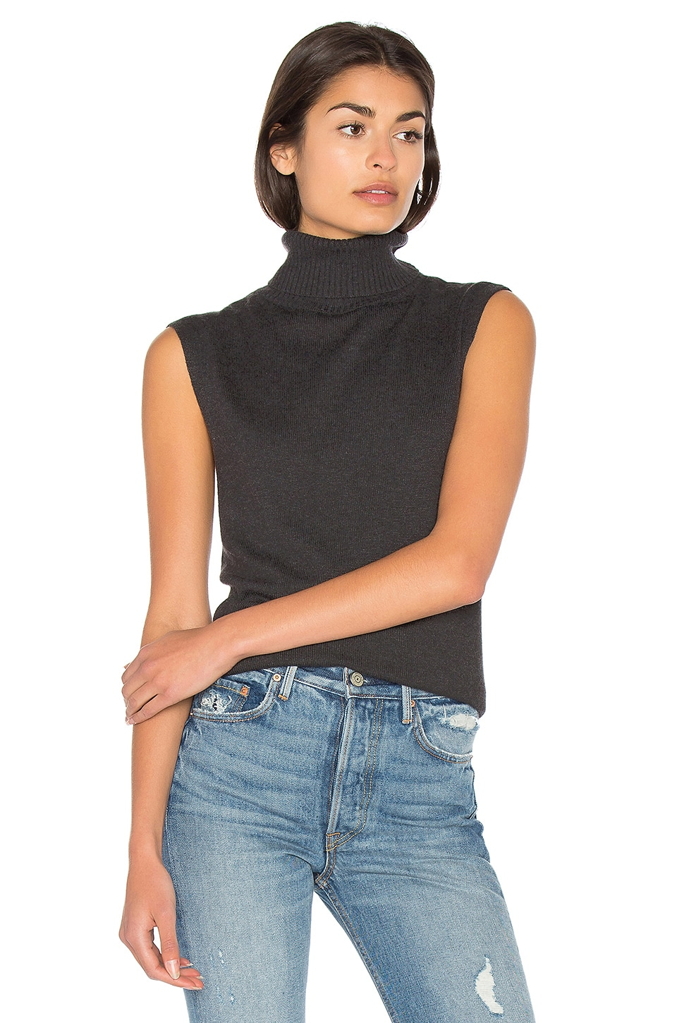Cashmere Blend Funnel Neck Tank by Bella Luxx