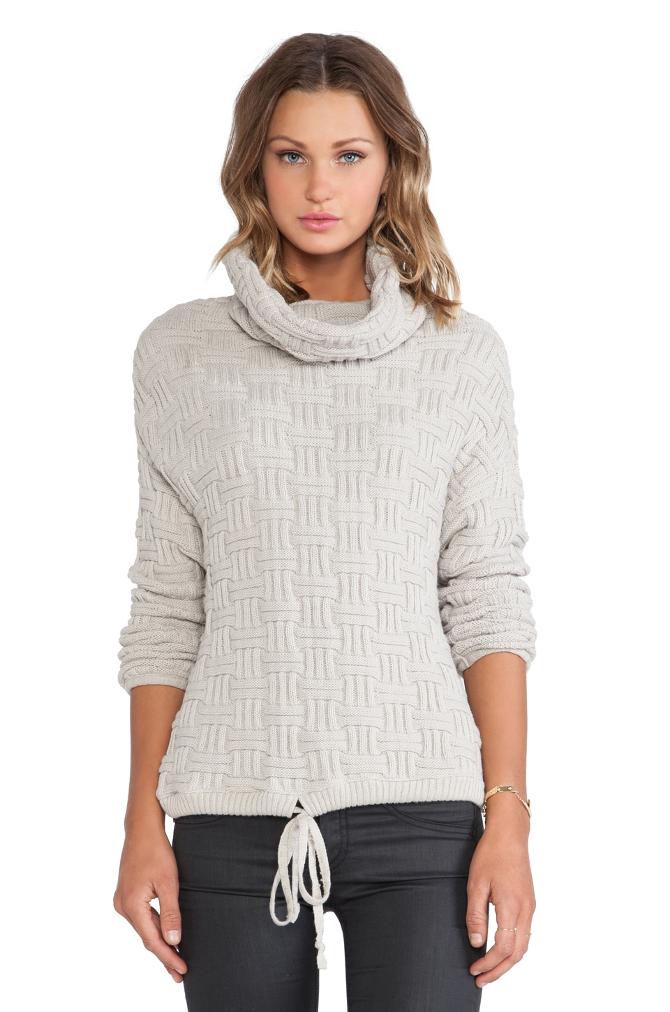 Bella Luxx Oversized Funnel Neck Pullover in Silver