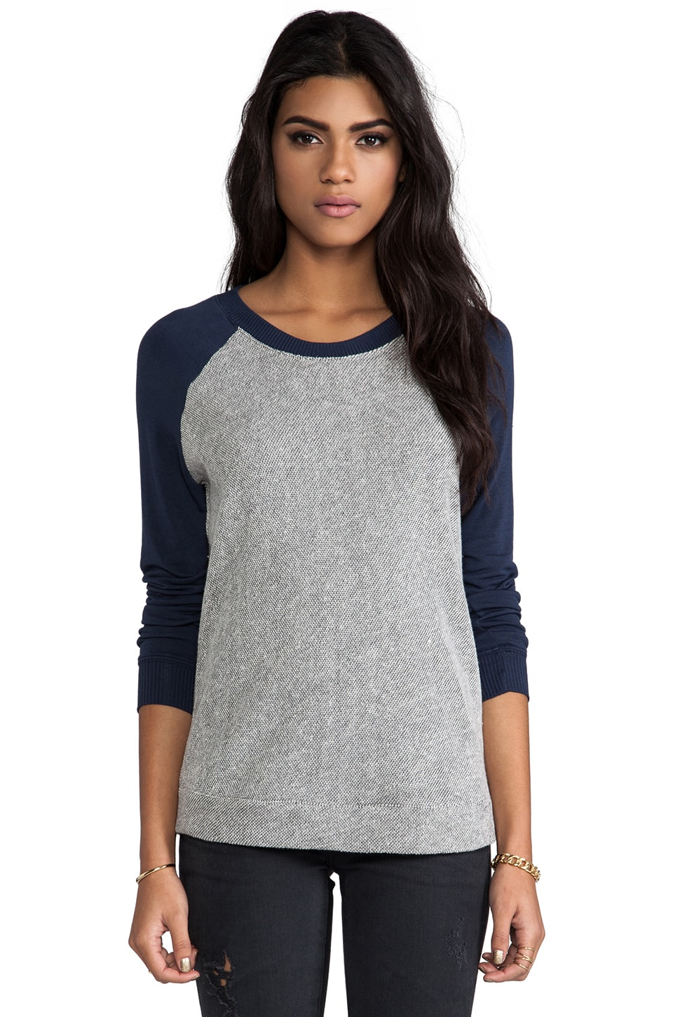 Bella Luxx French Terry Raglan Pullover in Heather Grey & True Navy