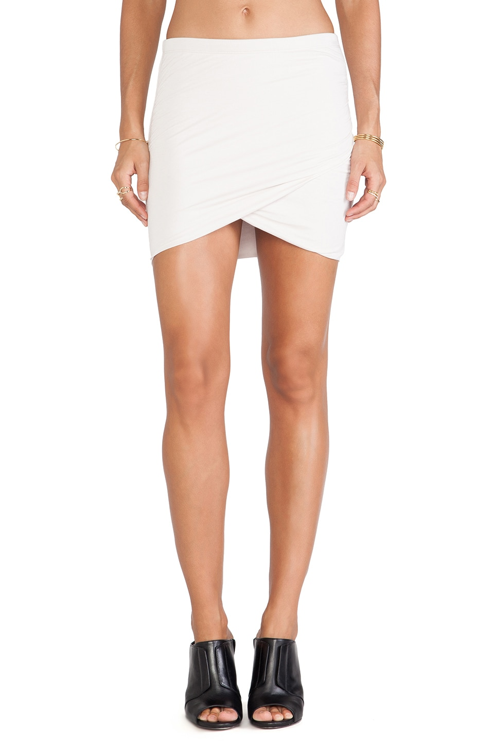Bella Luxx Shirred Cross Front Skirt in Stone