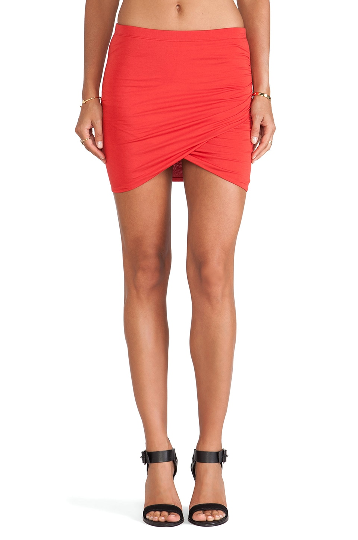 Bella Luxx Shirred Cross Front Skirt in Cardinal