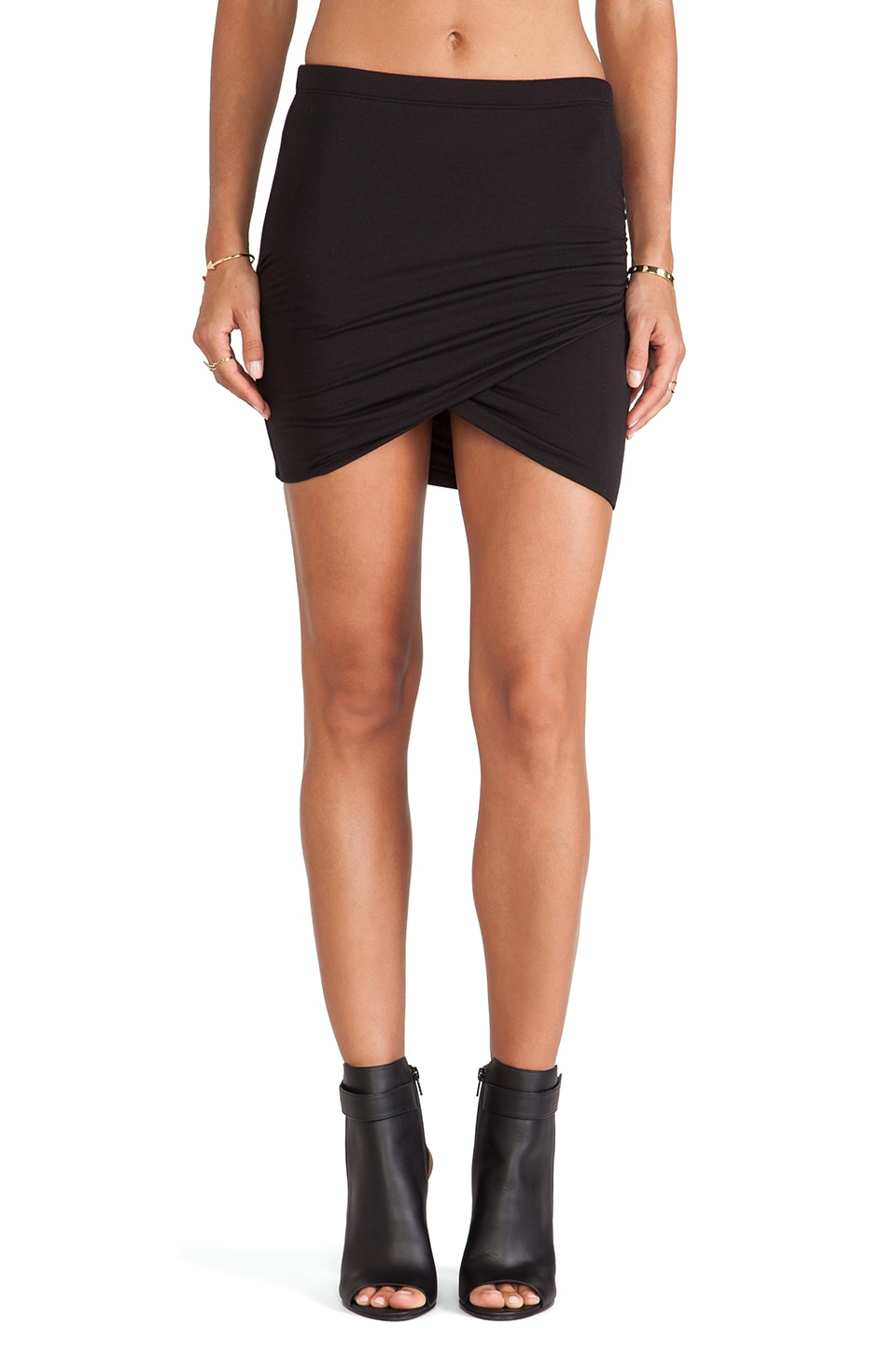 Bella Luxx Shirred Cross Front Skirt in Black