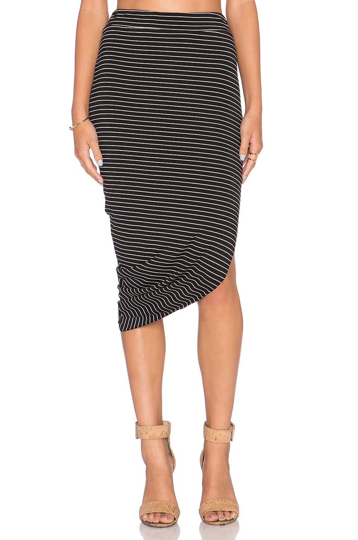 Bella Luxx Asymmetrical Drape Midi Skirt in Hamburg Stripe