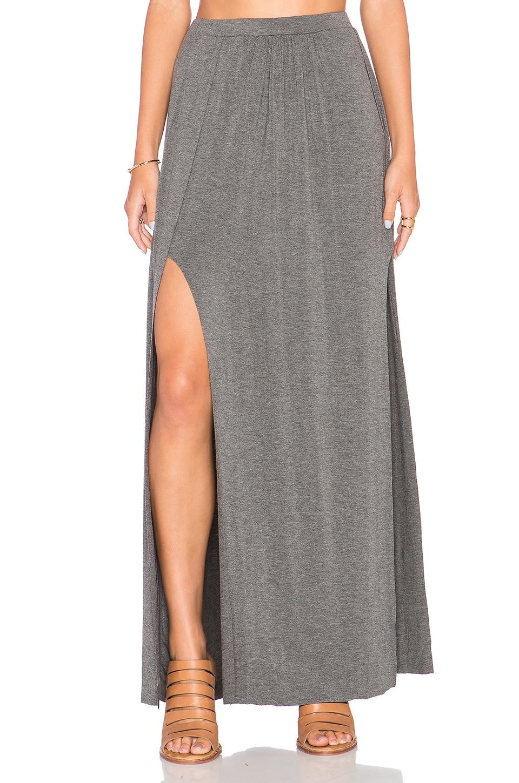 Bella Luxx Paneled Maxi Skirt in Steel Heather