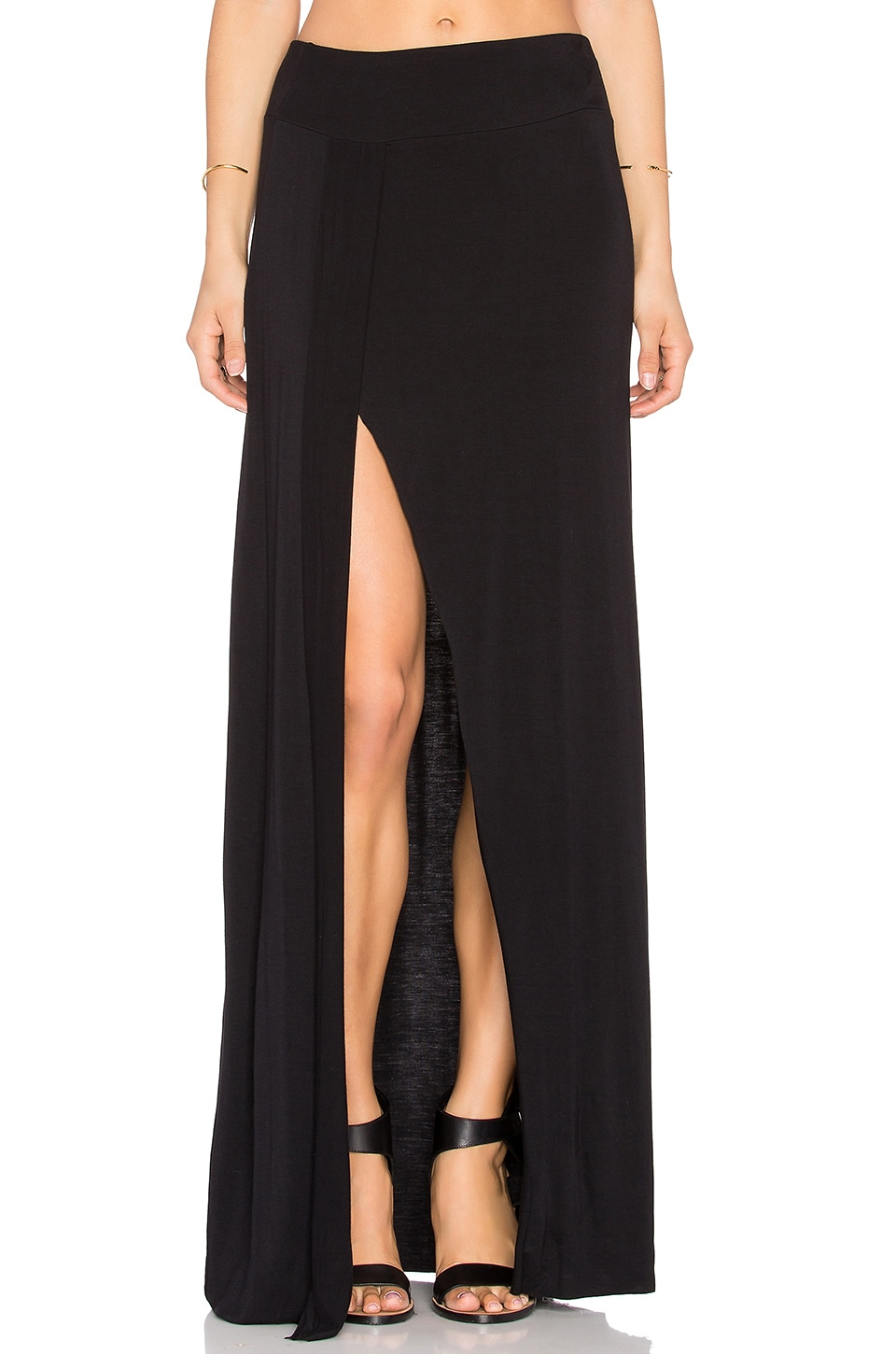 Bella Luxx Front Slit Maxi Skirt in Black