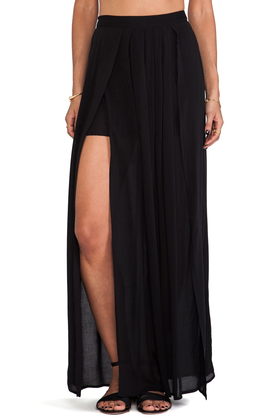 Bella Luxx Pleated Maxi Skirt in Black