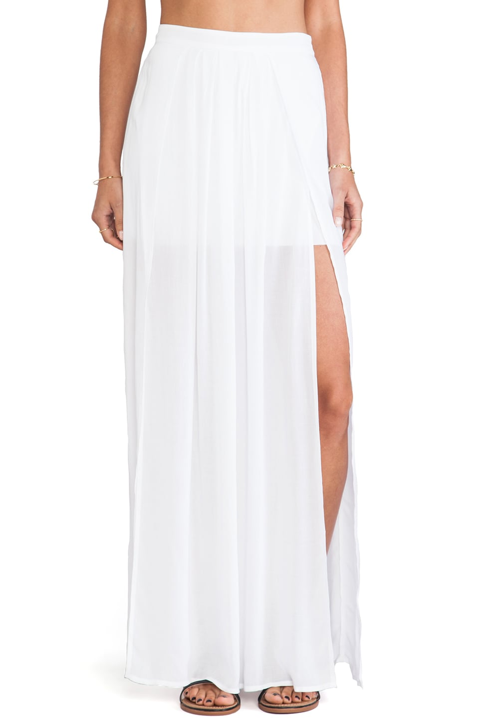 Bella Luxx Pleated Maxi Skirt in White
