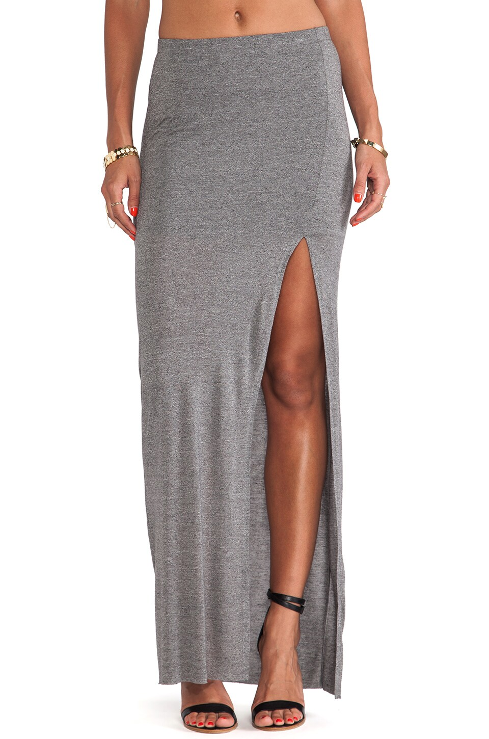 Bella Luxx Column Skirt in Ash Heather