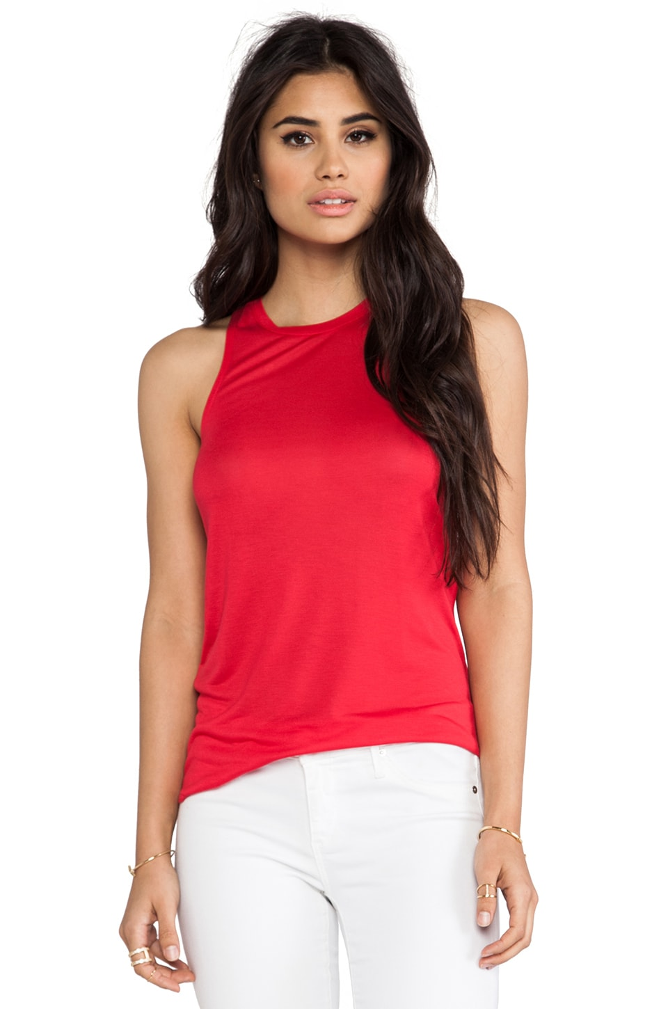 Bella Luxx Tissue Slouchy Tank in Rouge
