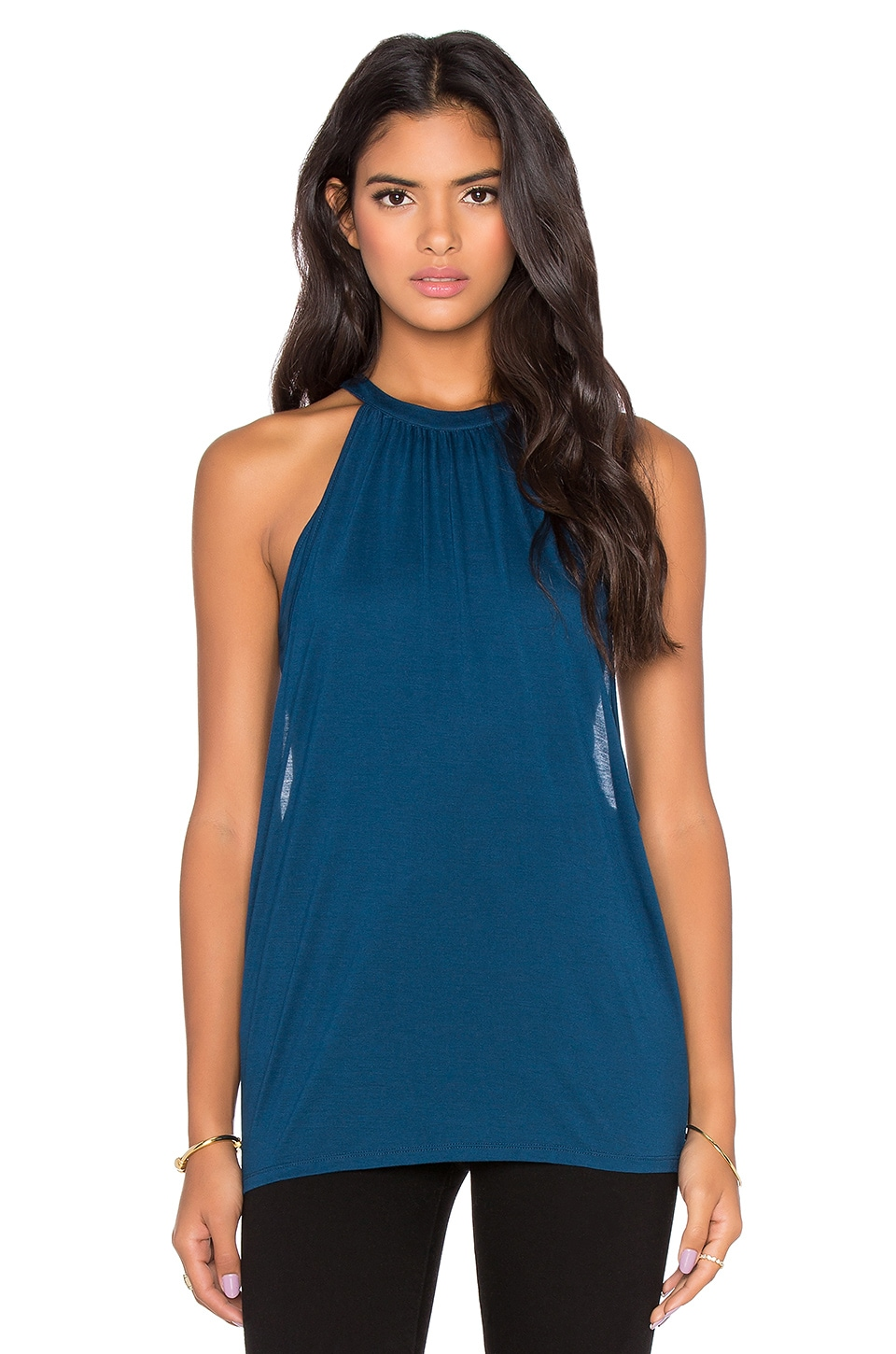 Bella Luxx Shirred Double Layer Tank in Midnight Blue