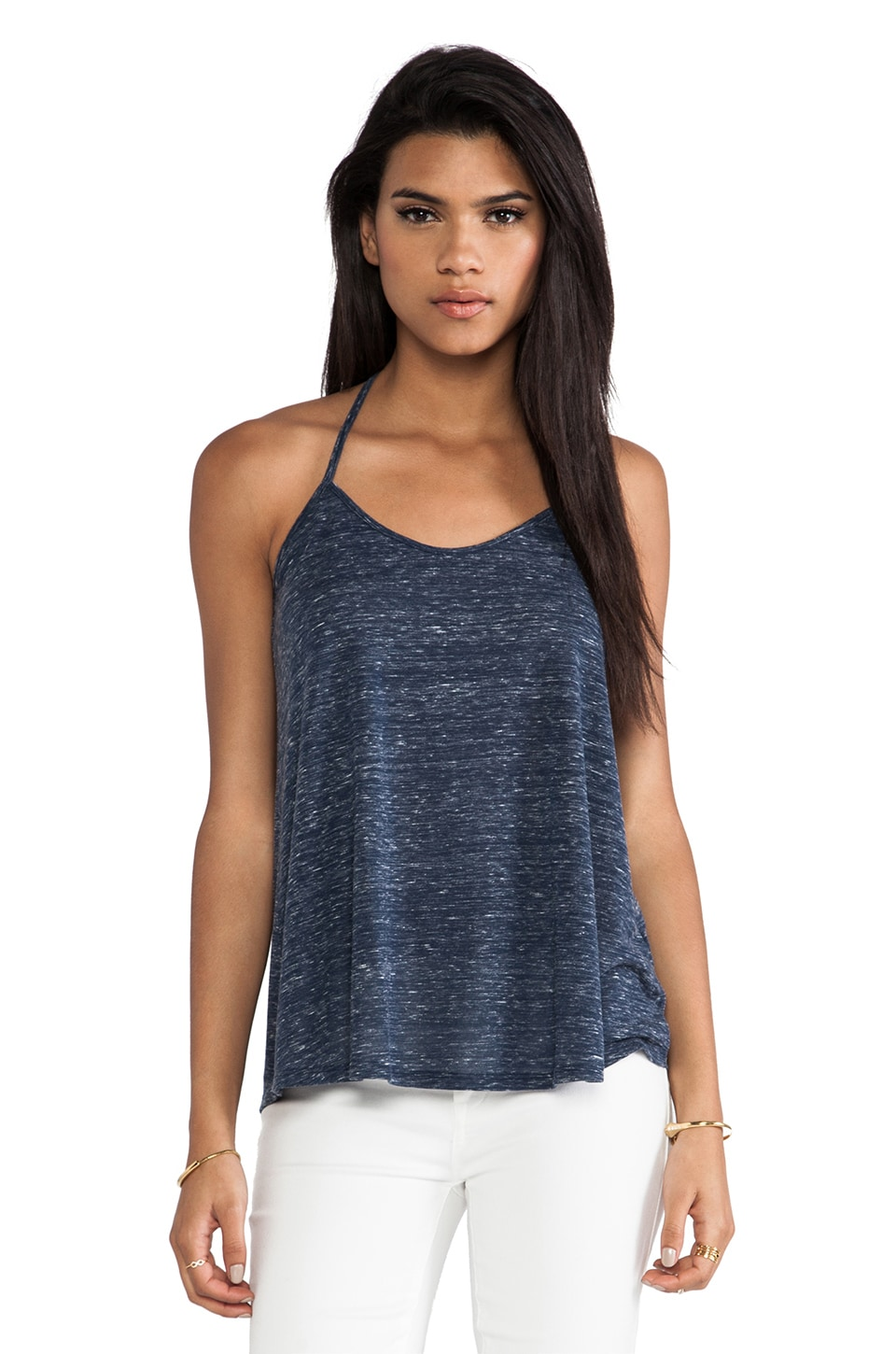 Bella Luxx Marbled Relaxed Y-Back Cami in Navy Marled