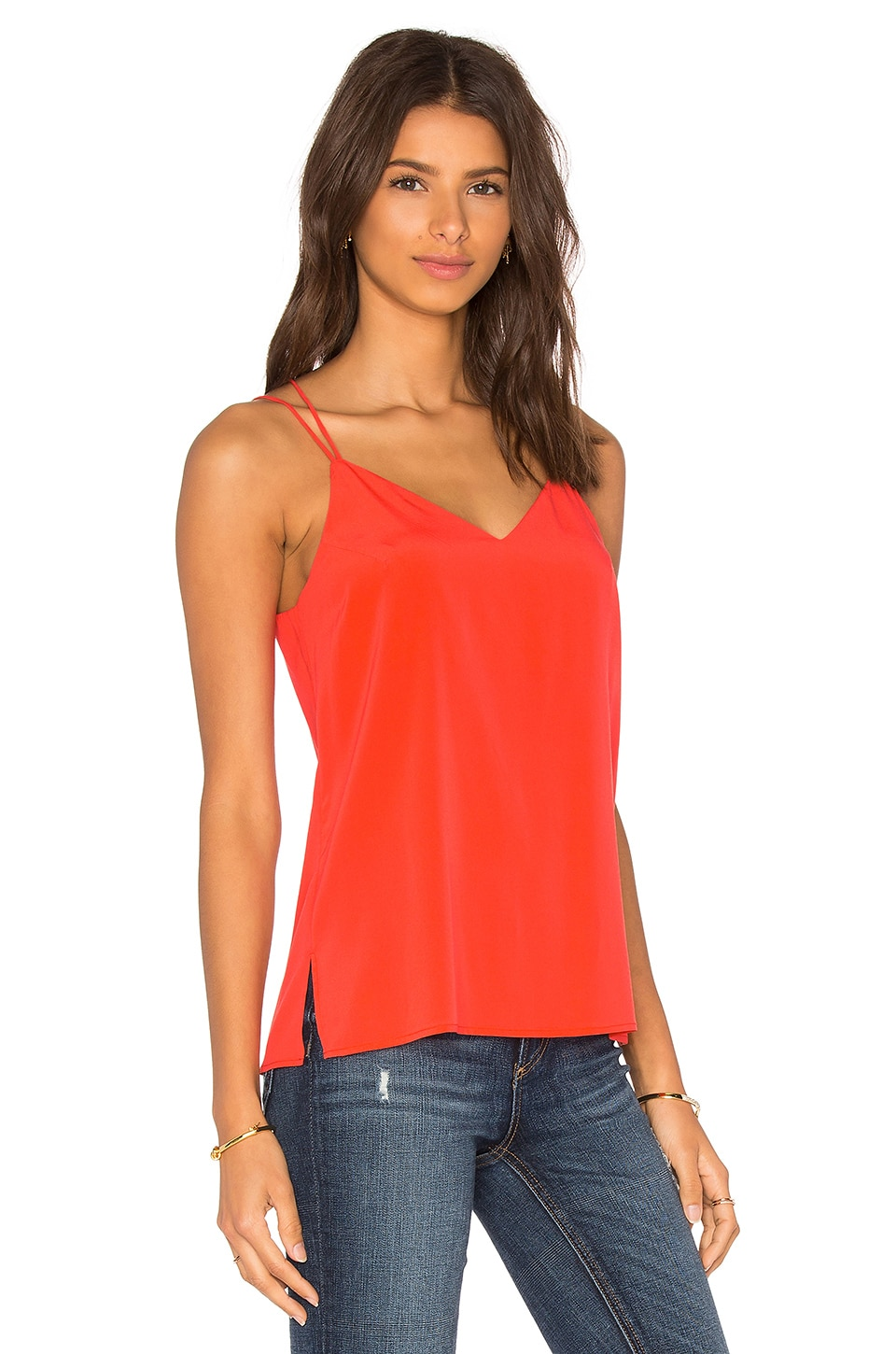 Bella Luxx Cross Back Spaghetti Cami in Coral Reef