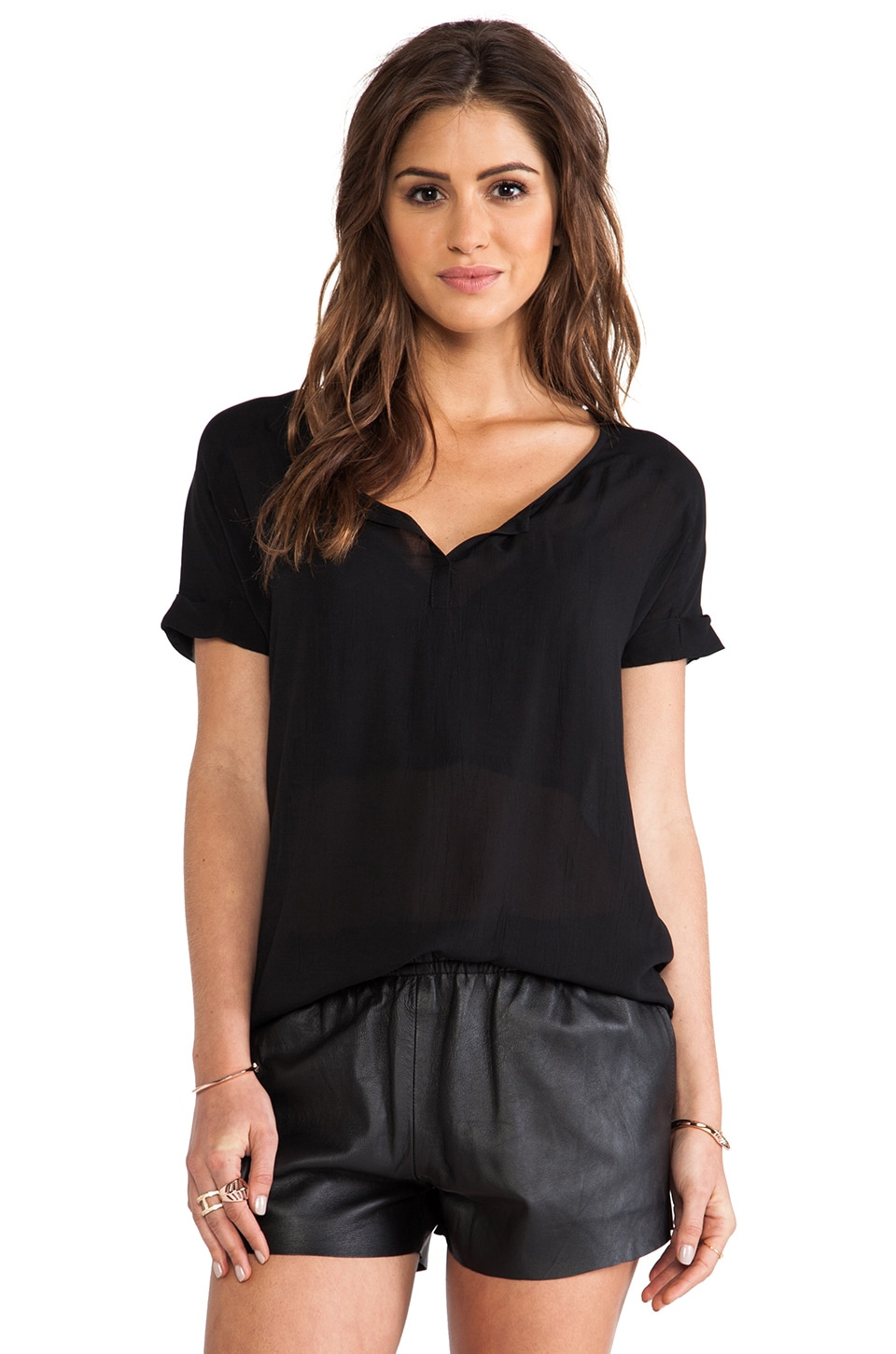 Bella Luxx Cuffed Henley Top in Black