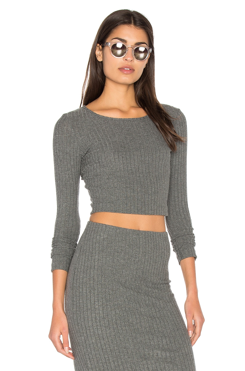 Plush Rib Long Sleeve Crop Top by Bella Luxx