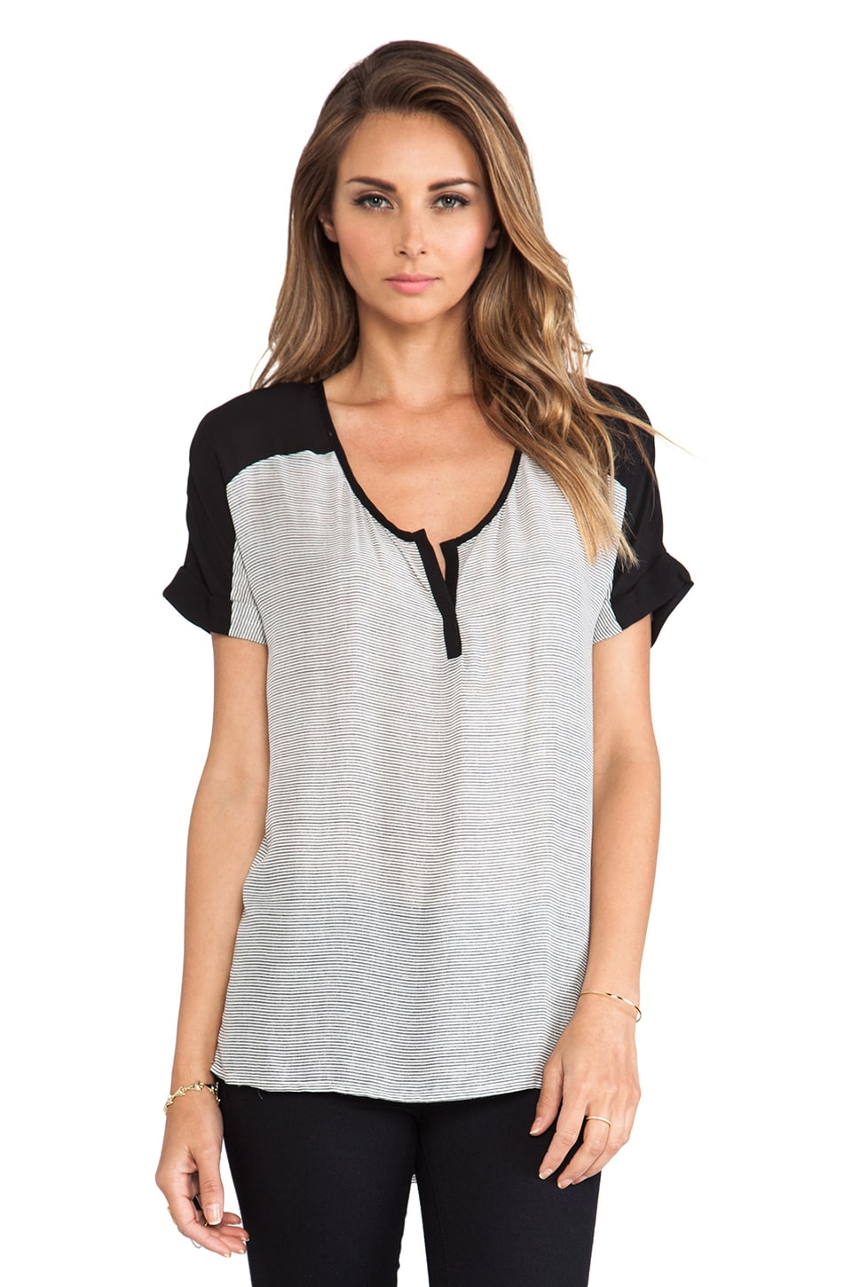 Bella Luxx Cuffed Henley Top in Hamptons Stripe & Black