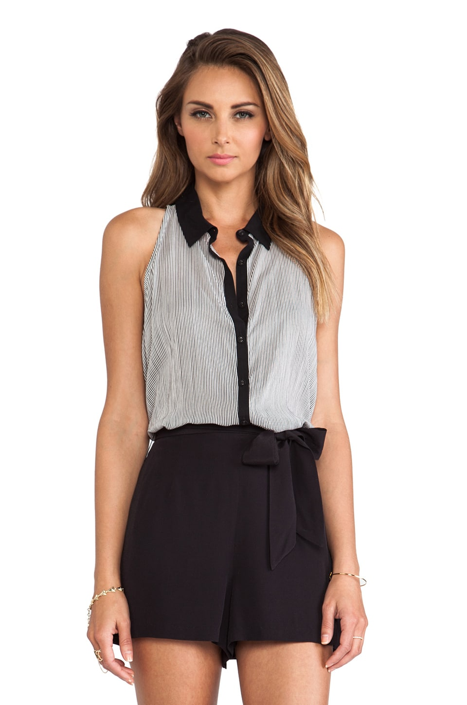 Bella Luxx Sleeveless Collared Shirt in Hamptons Stripe & Black