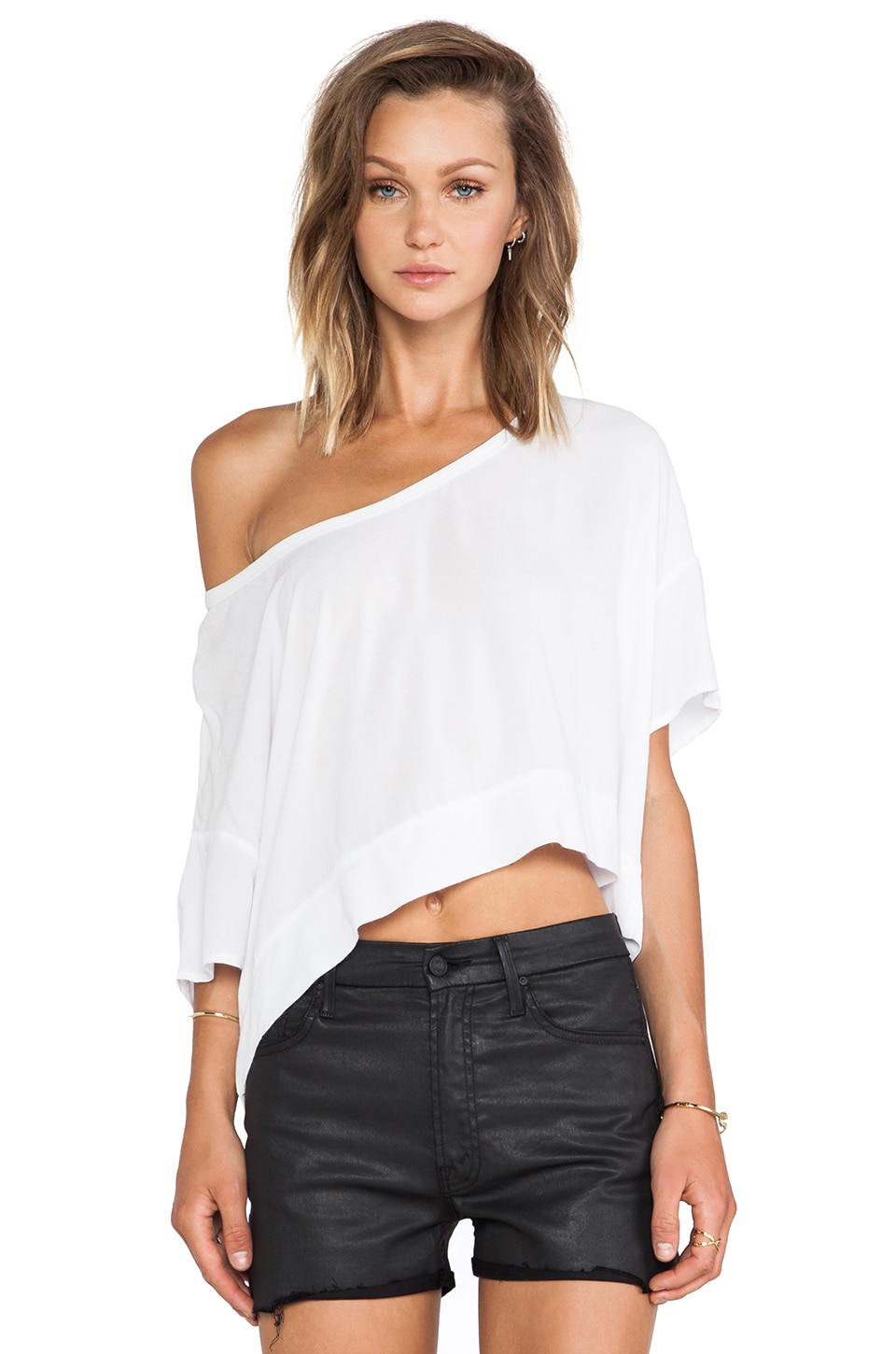 Bella Luxx Crepe Cropped Scoop Neck Tee in White