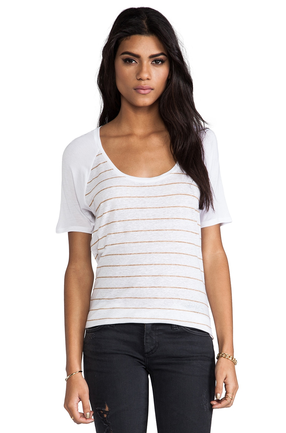 Bella Luxx Linen Scoop Raglan Tee in Cabo Stripe & Camel Heather