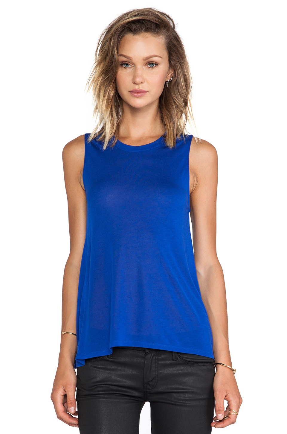 Bella Luxx High-Low Muscle Tank in Sapphire