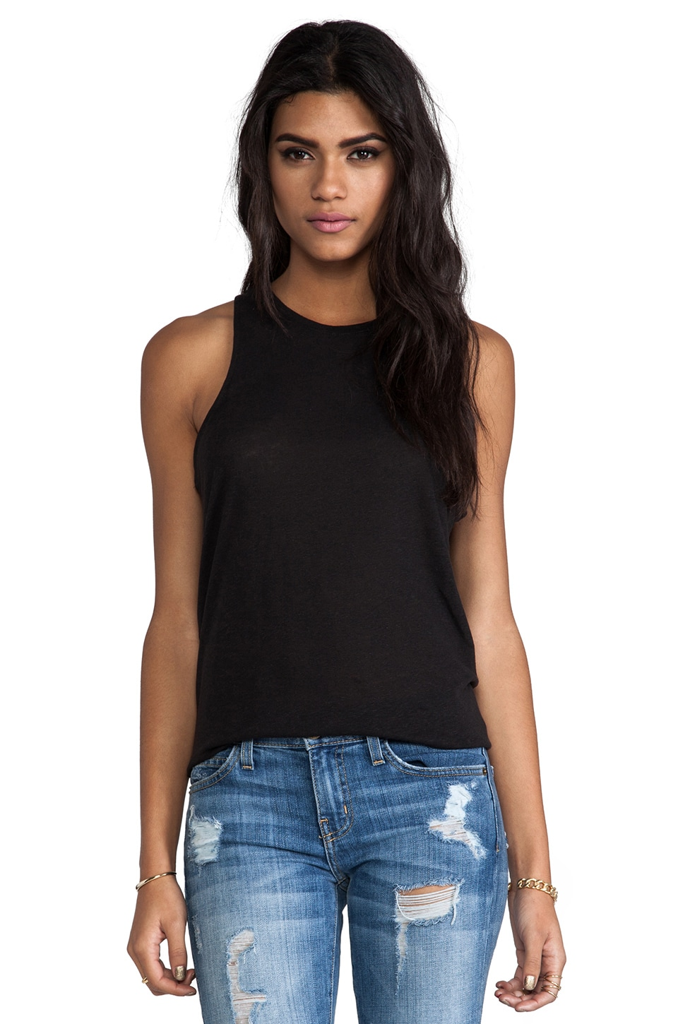 Bella Luxx Linen Slouchy Tank in Black