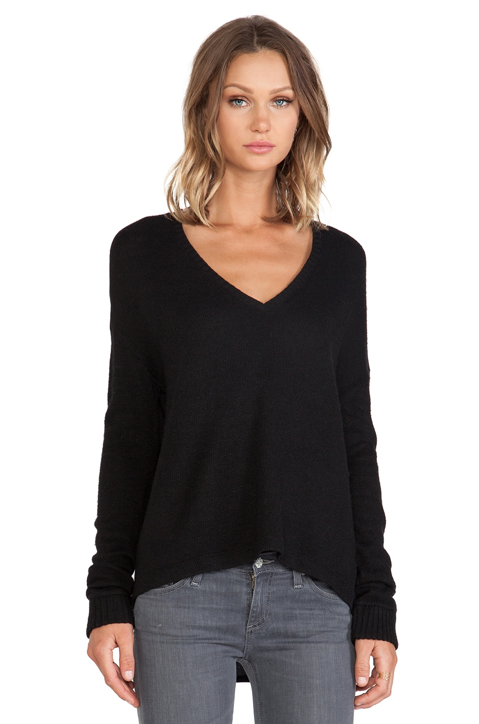 Bella Luxx Drop Shoulder V-Neck Sweater in Black