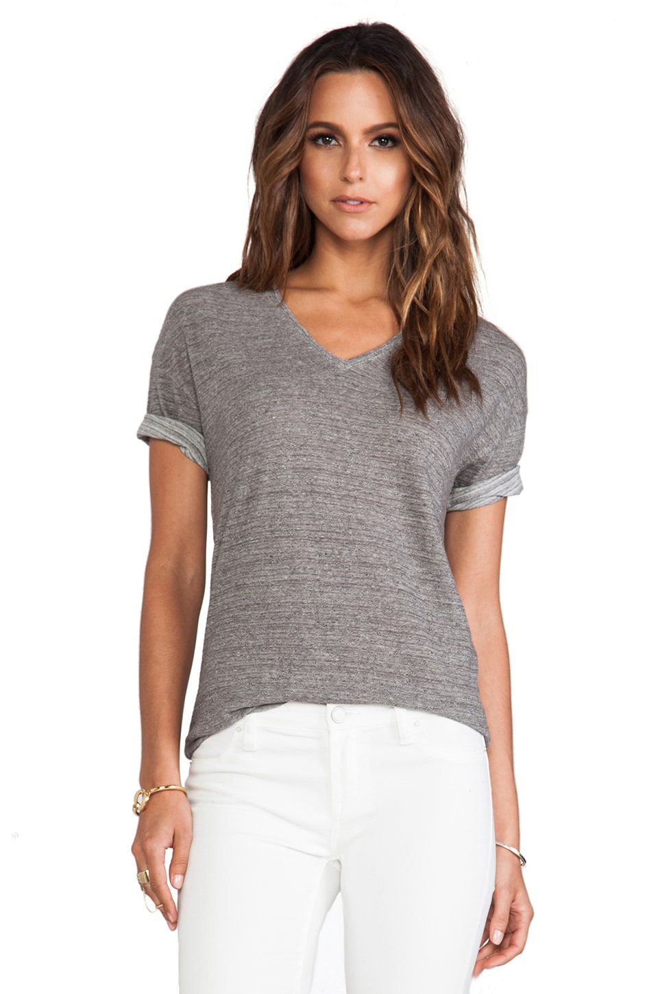 Bella Luxx Marled V-Neck Tee in Charcoal Grey