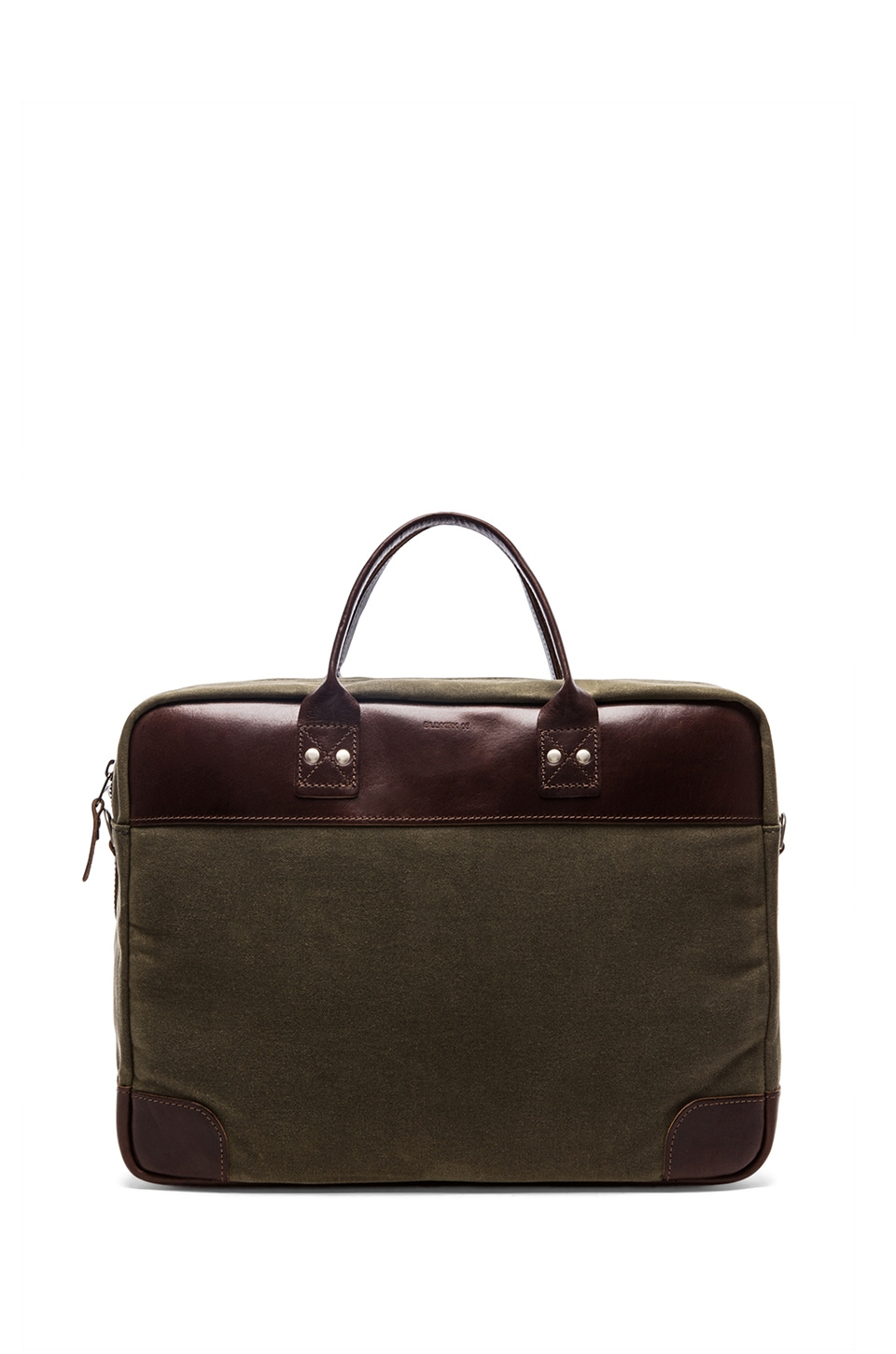 Billykirk No. 300 Padded Briefcase in Olive Wax & Brown