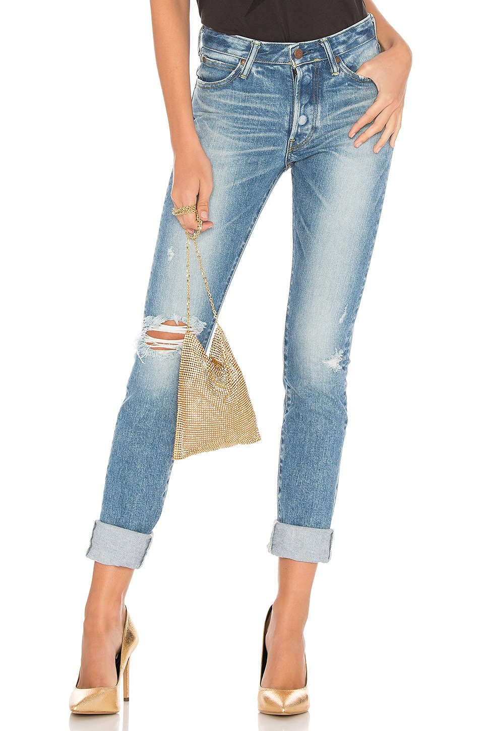 Brappers Denim Tight Straight Hard Distressed Destroyed in Light Blue