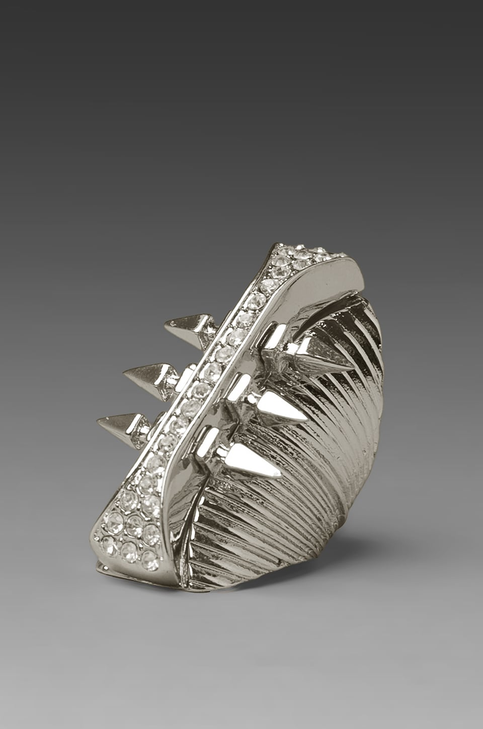 Belle Noel Glam Rock Long Finger RIng in Palladium