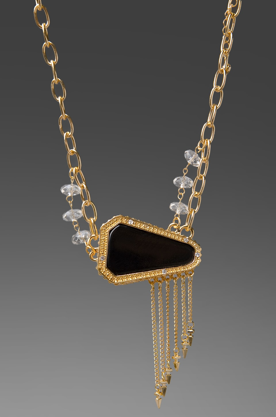 Belle Noel Resin Stone and Pave Necklace in Gold