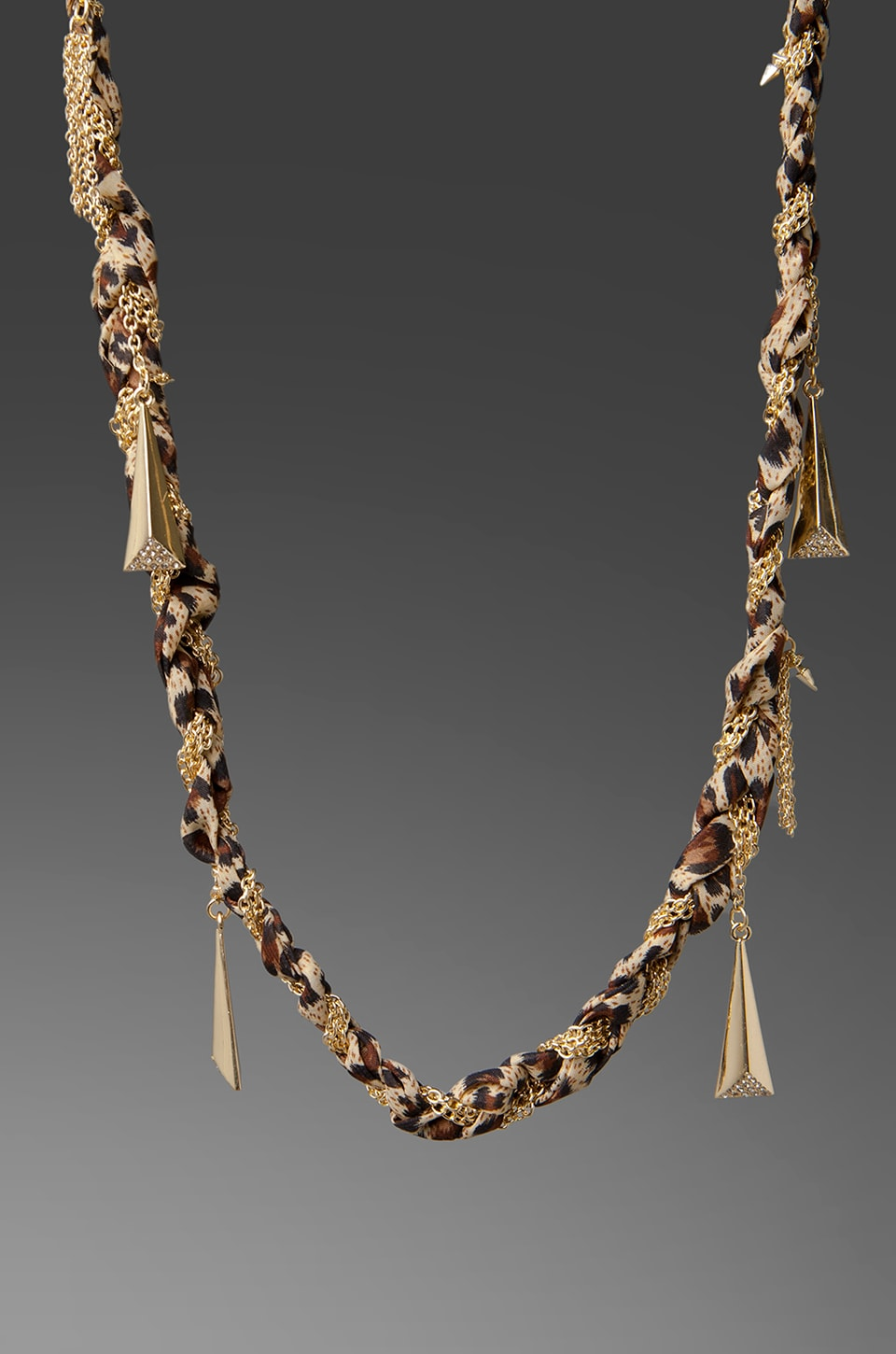 Belle Noel Chiffon Braided Necklace in Leopard