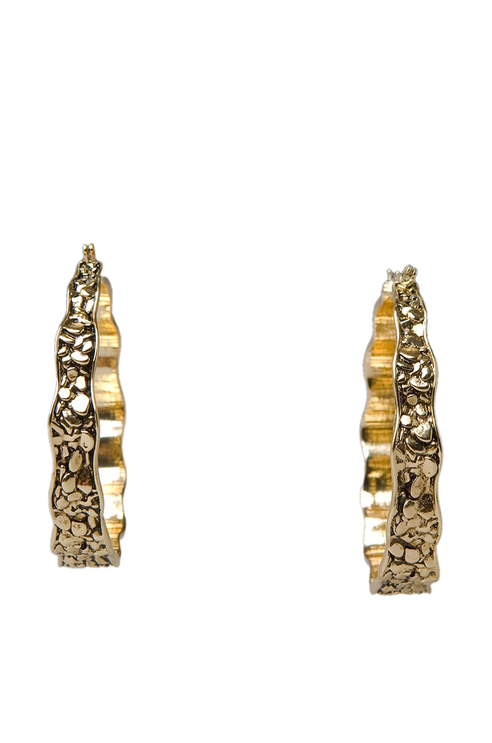Belle Noel Plated Nugget Hoop Earrings in Gold