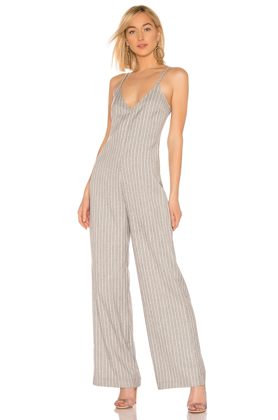 Bobi BLACK Cruise Stripe Jumpsuit in Grey