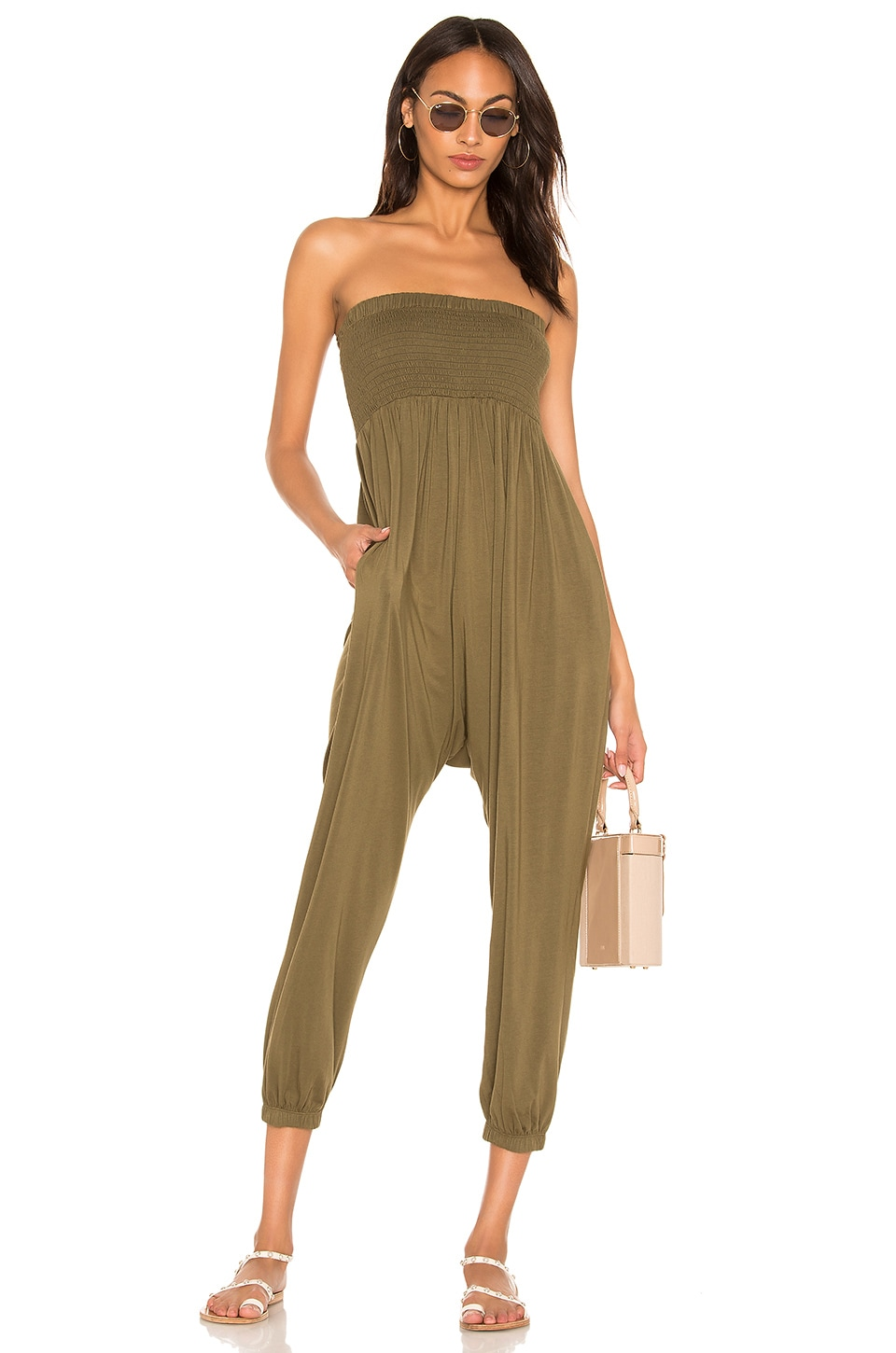 Bobi Draped Jersey Jumpsuit in Fatigues