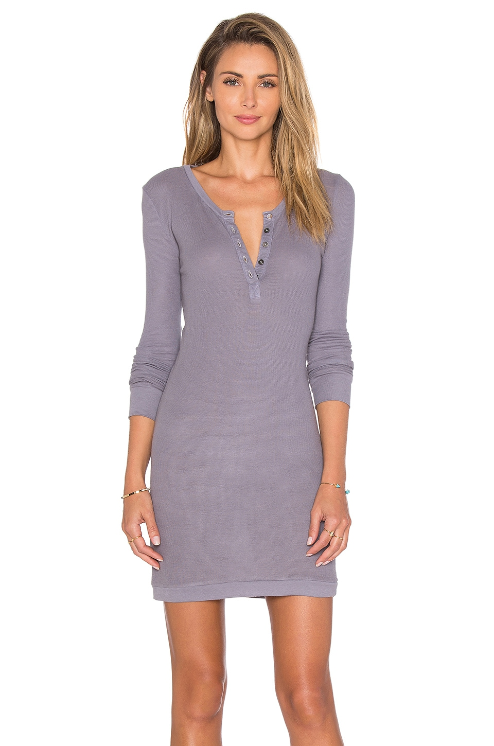 Bobi Mini Thermal Long Sleeve Henley Dress in Pavement