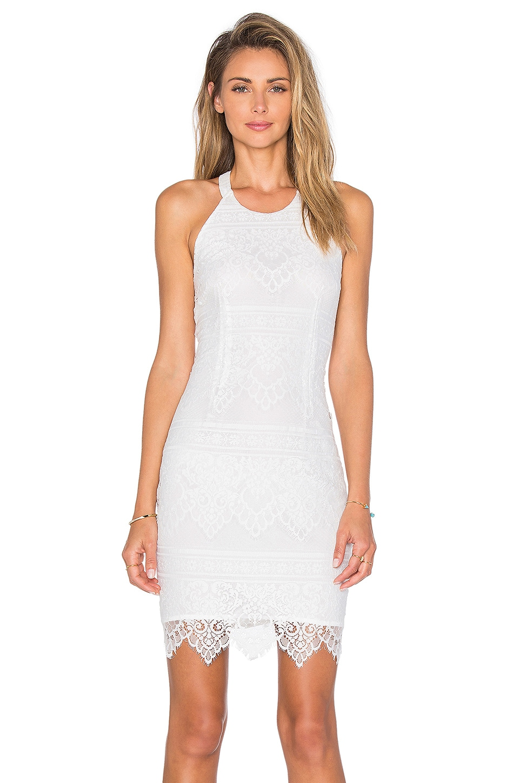 Bobi BLACK Lace Mini Dress in White